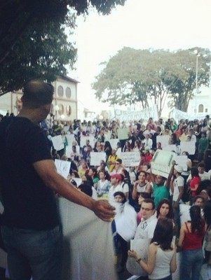 Manifestação em Santa Bárbara d'Oeste (Foto: Nicholas Bie/VC no G1)