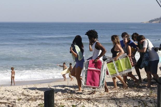 Gravação de Malhação na praia (Foto: AgNews)