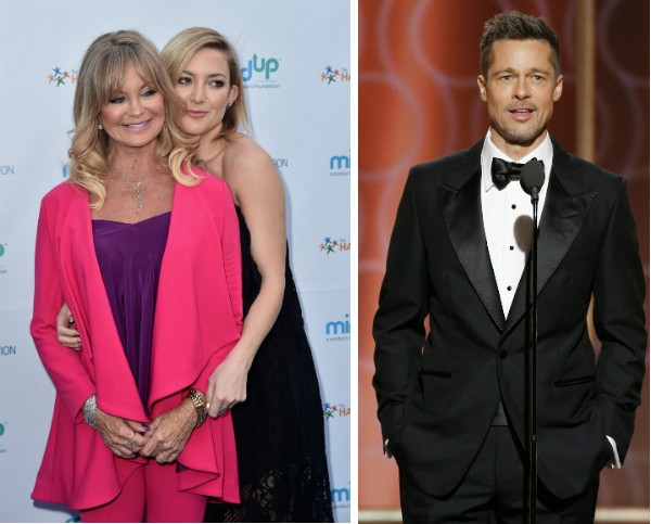 Kate Hudson com a mãe, Goldie Hawn, e ator Brad Pitt (Foto: Getty Images)