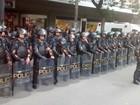 Pela 1ª vez, policiais usam traje 'Robocop' em protesto, diz PM