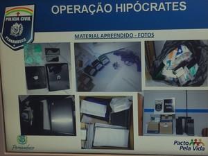 Material apreendido na 'Operação Hipócrates' (Foto: Reprodução/ Ronan Tardin/ TV Globo)