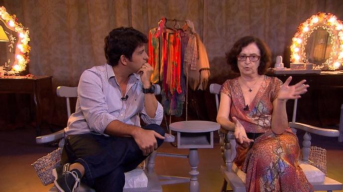 Alessandro Timbó fala sobre o processo do envelhecimento com a atriz Ana Lucia Torre (Foto: TV Bahia)