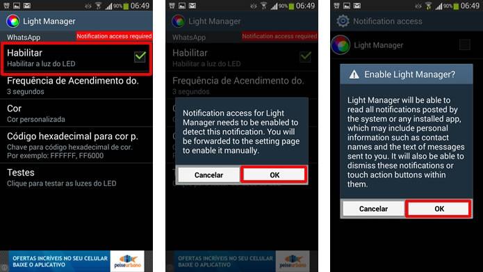 """Clique em """"Habilitar"""" e autorize as permissões de acesso do app para configurar as notificações por LED de seu S3 (Foto: Reprodução/Daniel Ribeiro)"""