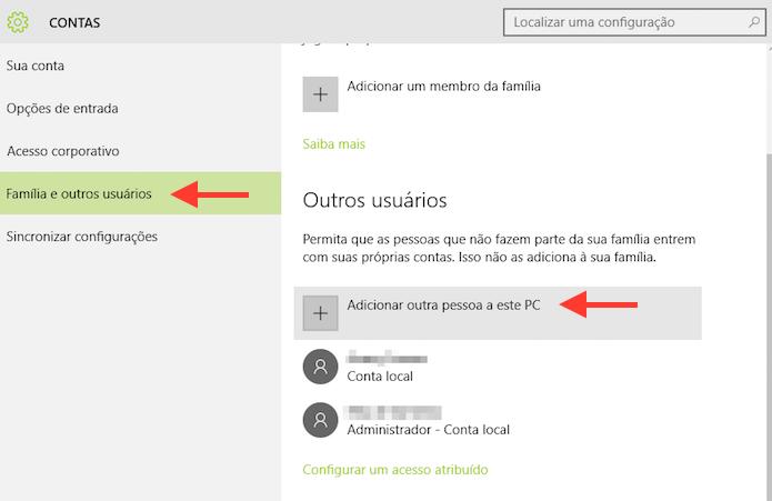 Acessando a ferramenta para adicionar um novo usuário no Windows 10 (Foto: Reprodução/Marvin Costa)