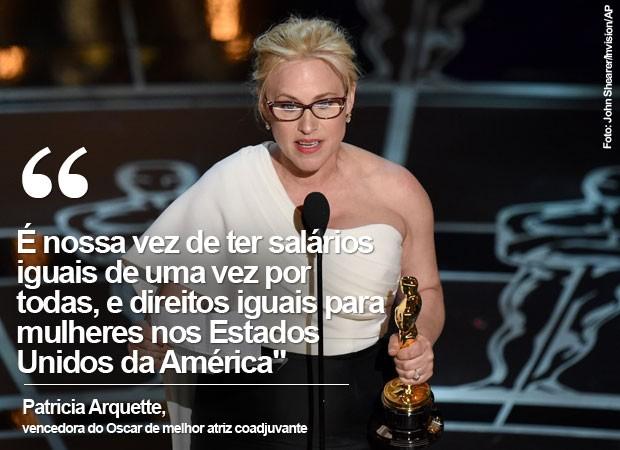 Patricia Arquette defendeu direitos iguais e salários iguais para mulheres nos EUA (Foto: John Shearer/Invision/AP)