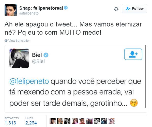 Felipe Neto e Mc Biel (Foto: Reprodução/ Twitter)