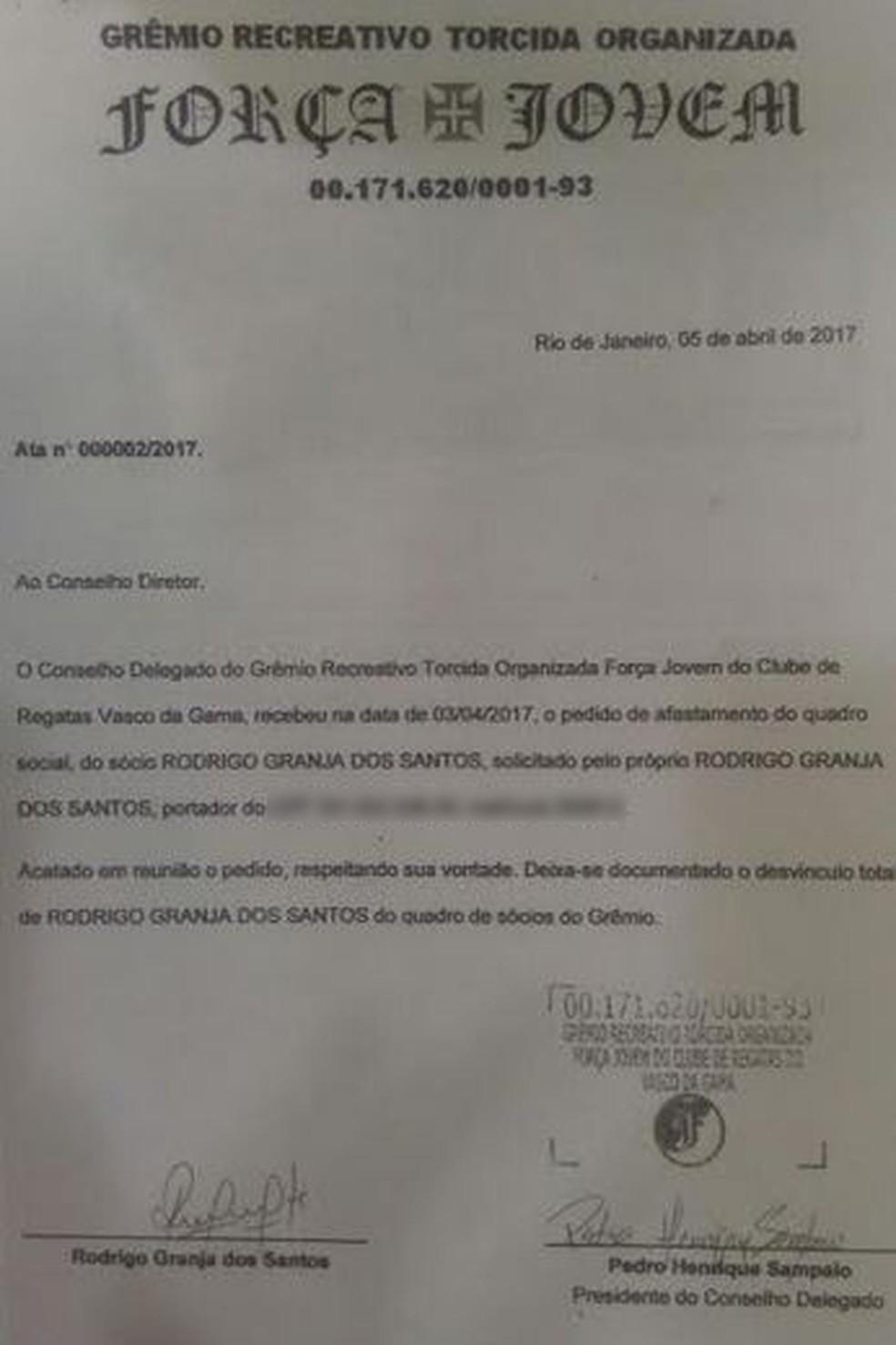 No dia 5 de abril, Rodrigo Granja pediu afastamento da FJV (Foto: Reprodução Gepe)