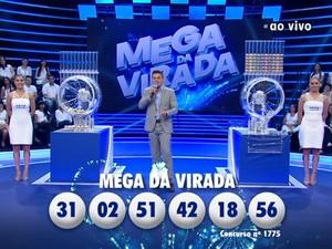 Mega da Virada: seis apostas dividem prêmio e cada uma leva R$ 41 milhões (Foto:  Reprodução)