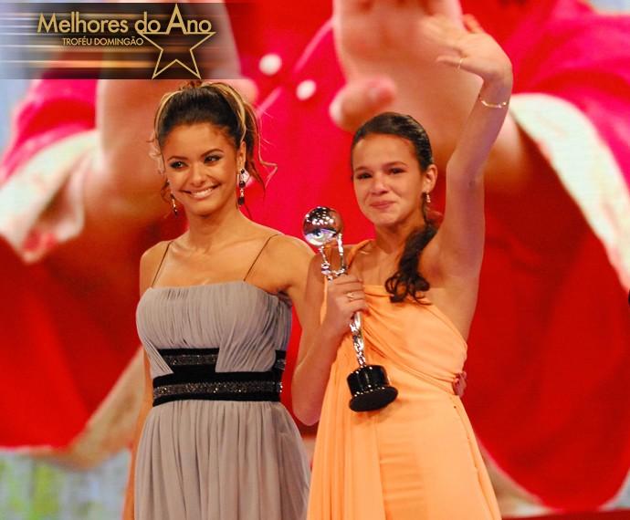 Bruna Marquezine se emociona e comemora sua terceira vitória no Melhores do Ano (Foto: João Miguel Júnior / TV Globo)