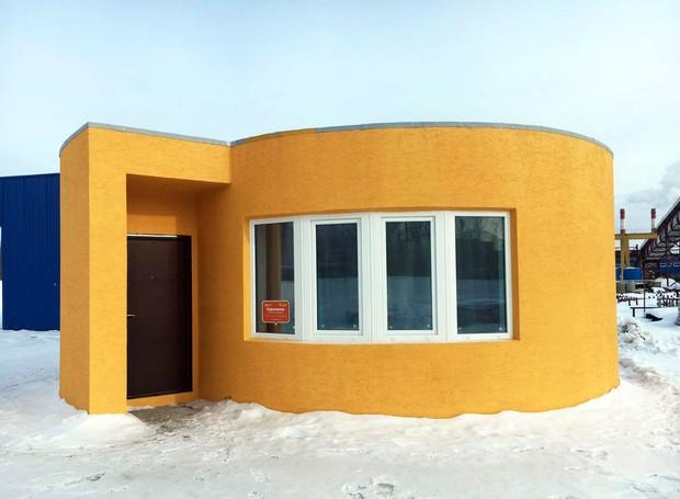 """A """"impressão"""" da casa demorou 24 horas, e foi feita no próprio local (Foto: Divulgação)"""