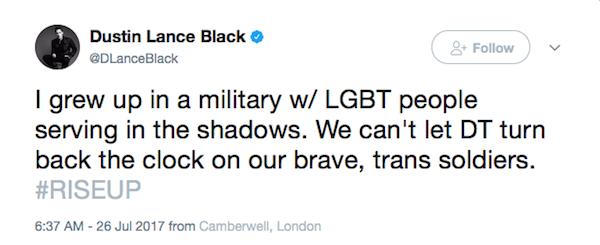 A crítica de Dustin Lance Black à decisão de Donald Trump  (Foto: Twitter)