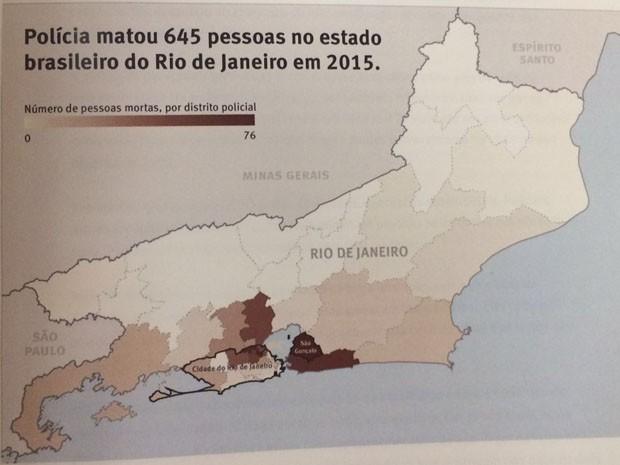 Dados de homicídios cometidos por policiais no RJ (Foto: Divulgação / Human Right Watch)