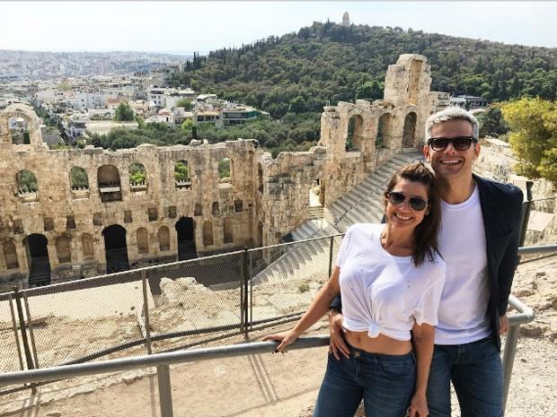 Flávia Alessandra e Otaviano Costa na Grécia (Foto: Reprodução)