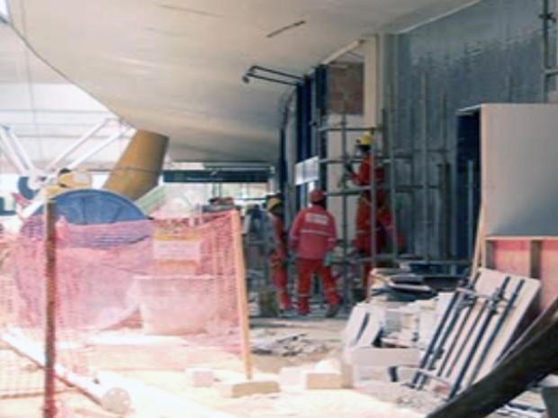 Terminal 1 do Aeroporto de Confins passa por reforma e ampliação para a Copa do Mundo (Foto: Reprodução/TV Globo)