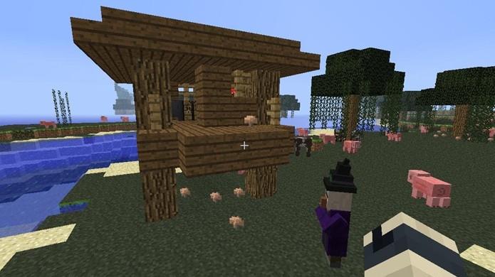 Bruxas podem ser encontradas em biomas de pântano e perto de suas cabanas em Minecraft (Foto: YouTube)