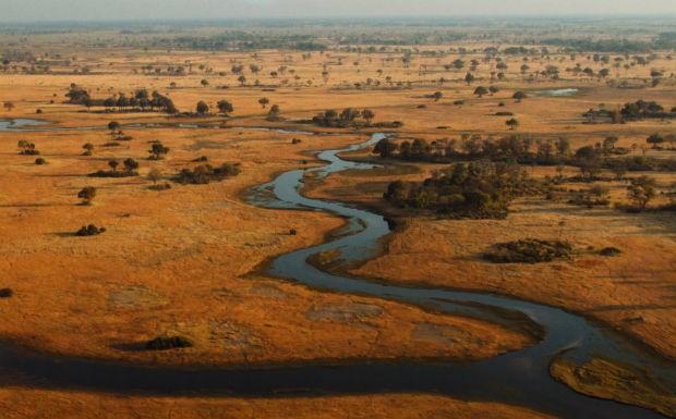 Delta do Okavango visto de cima (Foto: Reproduo/GNT)