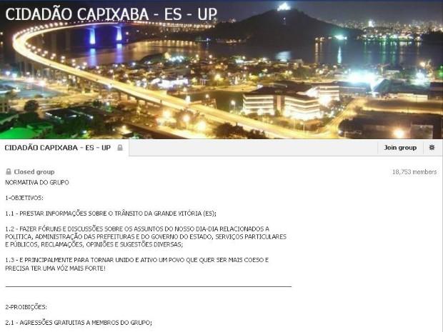 Página Cidadão Capixaba-ES - UP deve ser retirada do ar em até 72 horas, sob pena de multa diária de R$ 500 mil (Foto: Reprodução/ Facebook)