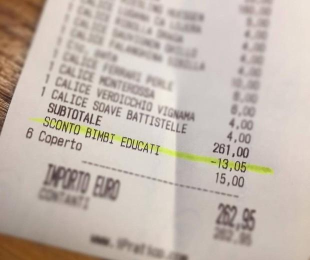 A conta do restaurante com o desconto (Foto: Reprodução - Facebook)
