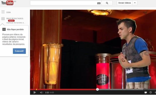 O brasileiro Matheus Fernandes no episódio exibido na quarta-feira (30) do programa 'American idol' e publicado pela Fox no YouTube (Foto: Reprodução / YouTube)
