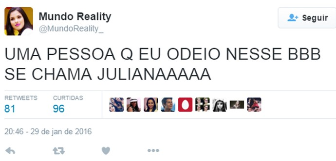 Twitter 1 madrugada casa 30_01 (Foto: TV Globo)
