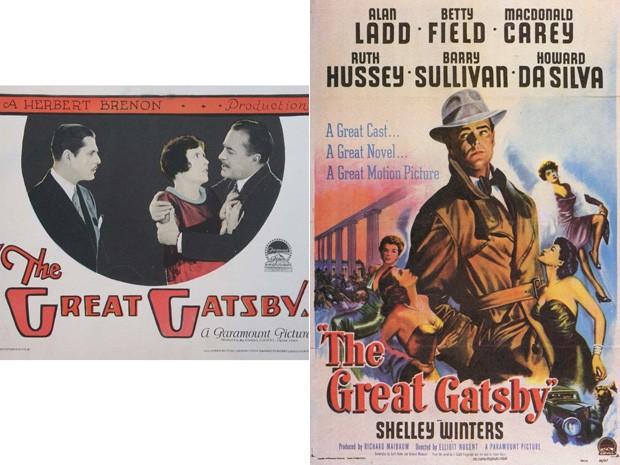 Cartazes de 'O grande Gatsby' na versão de 1926, à esquerda, e de 1949 à direita (Foto: Divulgação)