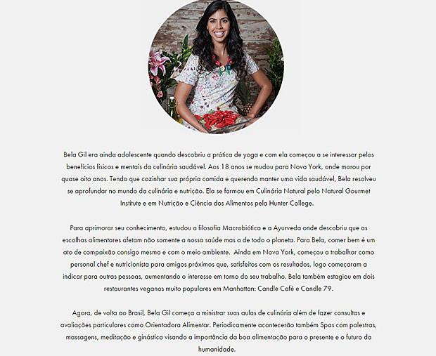 Bela Gil se coloca como 'orientadora alimentar' em sua biografia no site oficial (Foto: Site Oficial/Reprodução)