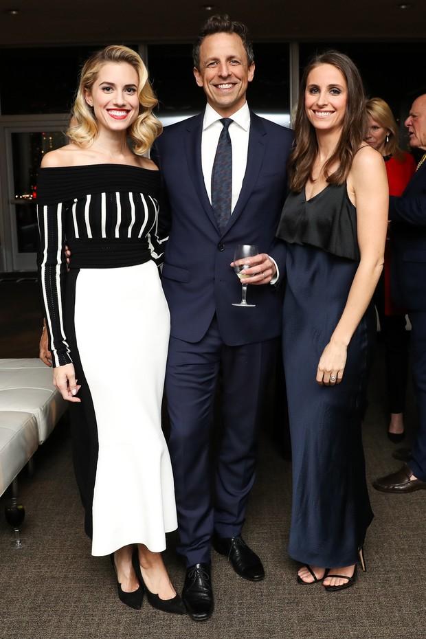 Allison Williams, Seth Meyers e Alexi Ashe (Foto: Neil Rasmus/BFA para DVF Awards e Matteo Prandoni/BFA para DVF Awards)