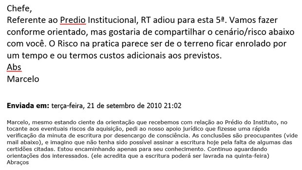 E-mail com resposta de Marcelo Odebrecht para 'Chefe' sobre 'Prédio do Instituto' (Foto: Reprodução/Polícia Federal)
