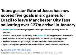 daily mail diz que torcedores do manchester city estão salivando por gabriel jesus (Foto: Reprodução)