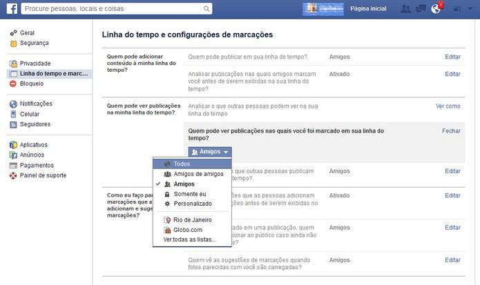 """Selecione a opção """"Amigos"""" no Facebook (Foto: Reprodução/Barbara Mannara)"""