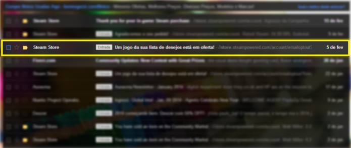 E-mail da Steam informando sobre o jogo em promoção (Foto: Reprodução/Paulo Vasconcellos) (Foto: E-mail da Steam informando sobre o jogo em promoção (Foto: Reprodução/Paulo Vasconcellos))