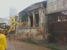 Loja atingida por incêndio tem área demolida em Campinas; veja vídeo