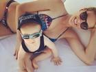 Ana Hickmann posa de biquíni ao lado do filho: 'Domingo de sol'