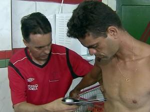 Jogadores Briosa Portuguesa Santista pré-temporada (Foto: Reprodução / TV Tribuna)