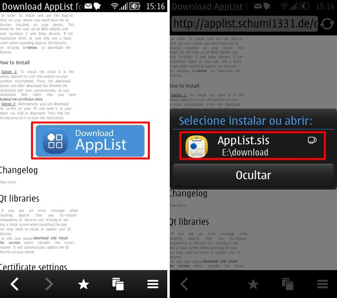 Baixe App List no seu Symbian e toque sobre o ícone do download para começar a instalação da loja de apps (Foto: Reprodução/Elson de Souza)