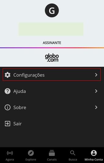 Configurações App - Canais Globo (Foto: Canais Globo)