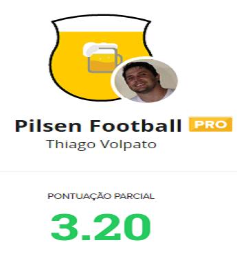 Com oito escalados, 'Pilsen Football' está com 3.20 pts de parcial na rodada #25 do Cartola FC (Foto: Reprodução/Cartola FC)