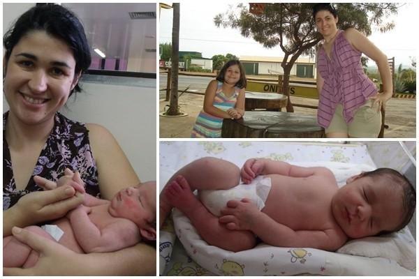 A mamãe Giselle Cristina com os filhos João Vitor e Maria Eduarda (Foto: Arquivo Pessoal)