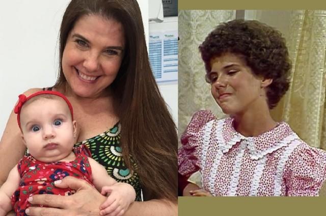 Rosana Garcia com a neta e no ar como Narizinho, do Sítio (Foto: Arquivo pessoal/ arquivo)
