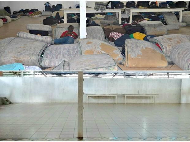 Abrigo imigrantes antes e depois  (Foto: Aline Nascimento/G1)