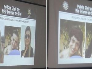 Paula Caroline antes e depois do crime, segundo a polícia (Foto: Divulgação/Polícia Civil)