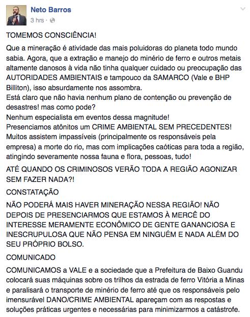 Prefeito fez declaração em rede social mencionando Samarco, Vale e BHP (Foto: Reprodução / Facebook)