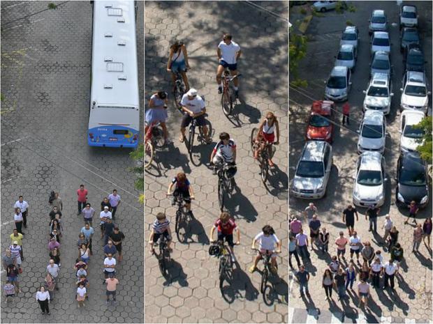 Campanha compara meios de transportes utilizados na capital, no Espírito Santo (Foto: Marcelo Prest/ A Gazeta / Reprodução TV Gazeta)