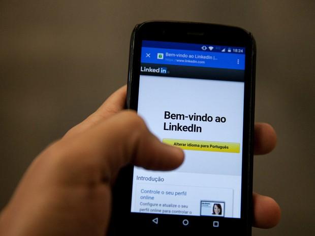 Tela de abertura do Linkedin (Foto: Marcelo Brandt/G1)