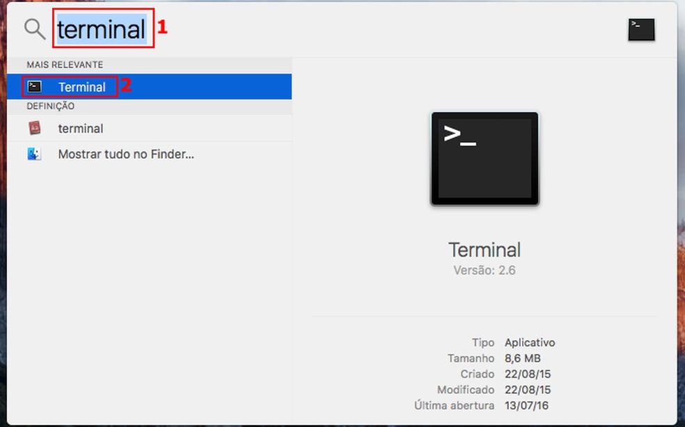 Executando o Terminal no Mac (Foto: Edivaldo Brito/TechTudo)