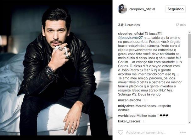 Cleo Pires elogia João Vicente de Castro em post no Instagram (Foto: Reprodução/Instagram)