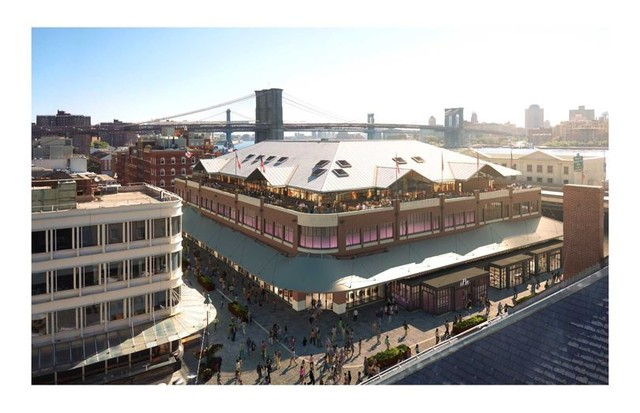 Architect's rendering of an aerial view of Fulton Market in the Seaport district, set to open mid-2018 (Foto: THE HOWARD HUGHES CORPORATION)