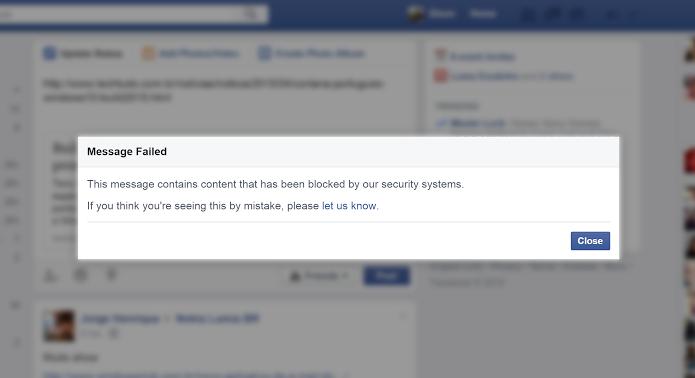 Erro impediu usuários de publicar conteúdos com links no Facebook (Foto: Elson de Souza/TechTudo)