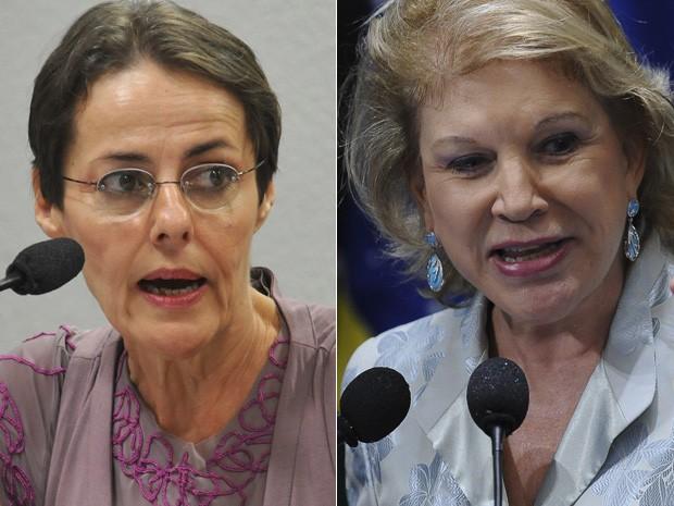 A ex-ministra da Cultura Ana de Hollanda (esq.) e a substituta Marta Suplicy (Foto: Agência Brasil)