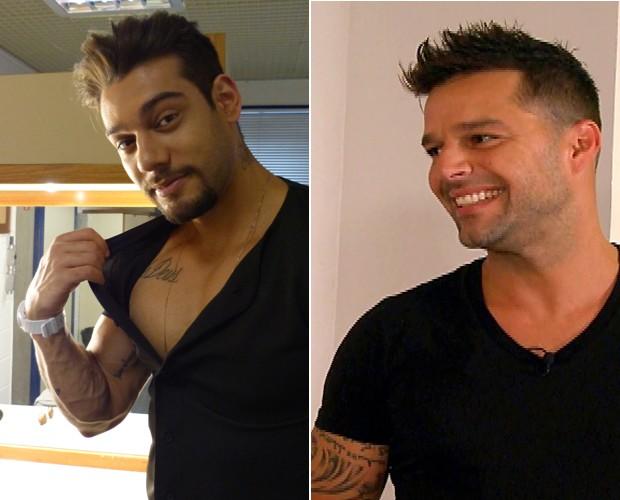 Lucas e Ricky na mesma posição  (Foto: Domingão do Faustão/ TV Globo e Caldeirão do Huck/TV Globo)